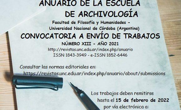 Convocatoria a publicar – Anuario Escuela de Archivología