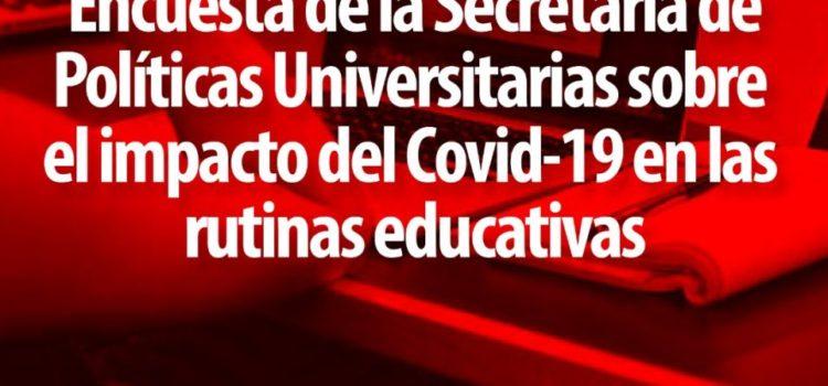 Encuesta de la Secretaría de Políticas Universitarias sobre el impacto del Covid-19 en las rutinas educativas