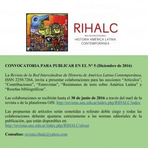 CONVOCATORIA PARA PUBLICAR EN EL N° 5 (Diciembre de 2016)